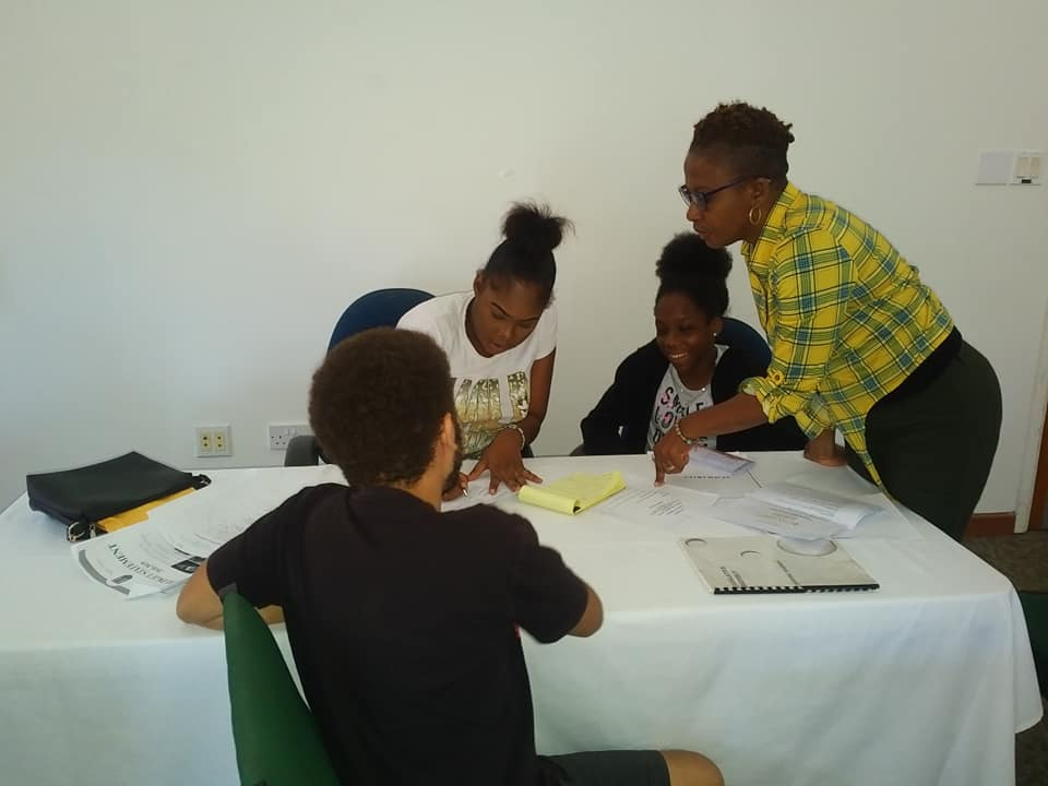 Administration working on an order paper with Clerk of the Nevis Assembly Myra Williams
