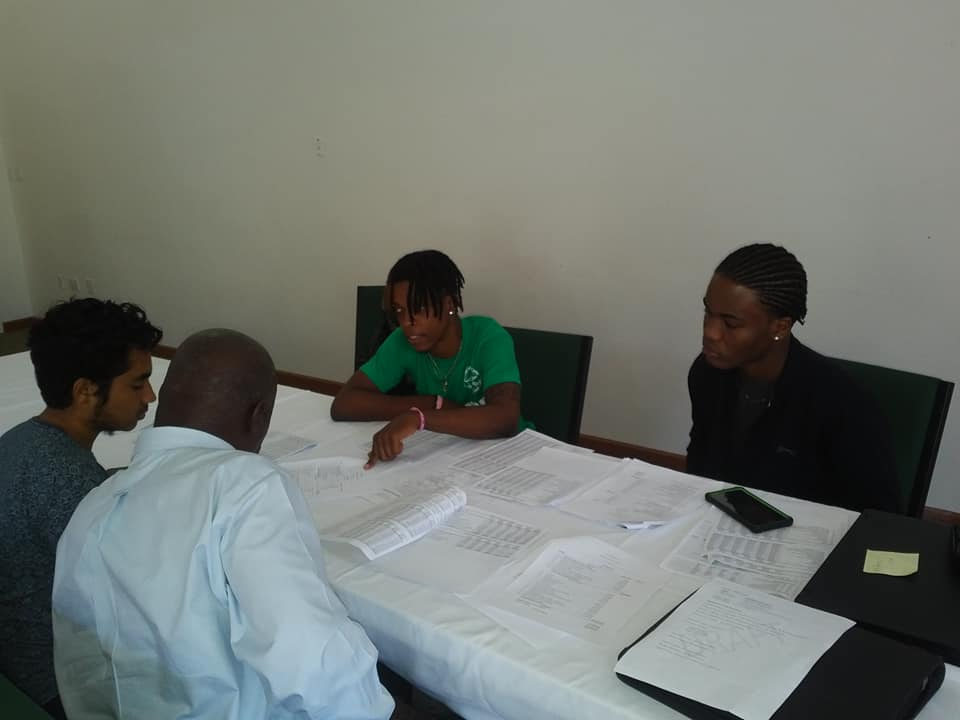 Opposition discussing their budget with President of the Nevis Assembly Farrell Smithen