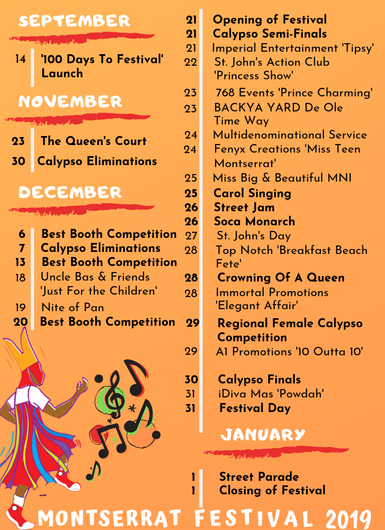 Preliminary Festival 2019 Calendar of Events