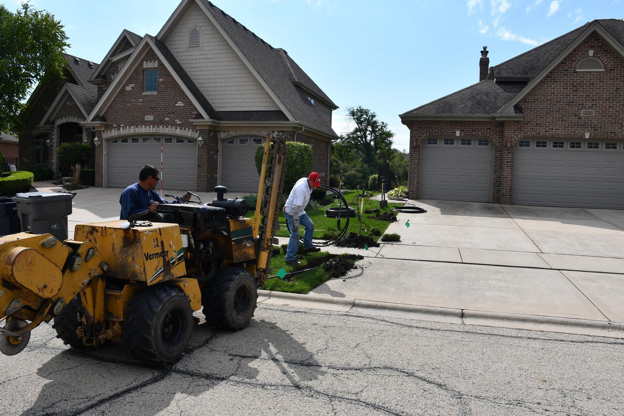 Orland Park Sprinkler Project - September 2018, Carefree Lawn Sprinkler Inc., helped install a residential sprinkler in Orland Park, IL