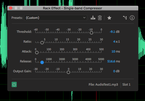 The controls for a single band compressor in Adobe Audition