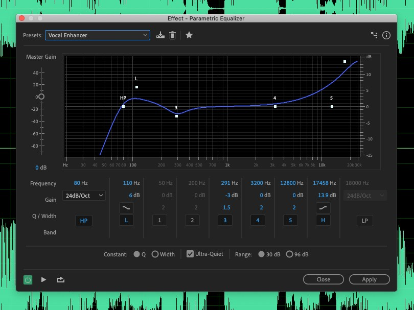 The parametric EQ in Adobe Audition. With a little practice, this can be a great tool for podcasters.