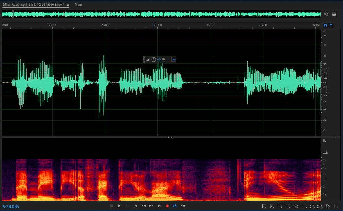 Using Adobe Audition's Spectral Frequency Display to manually remove clicks from podcast audio.