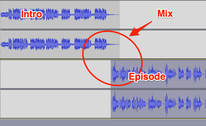 A help image from one of my podcast technical reviews showing my client how to better mix the intro into the beginning of the episode.