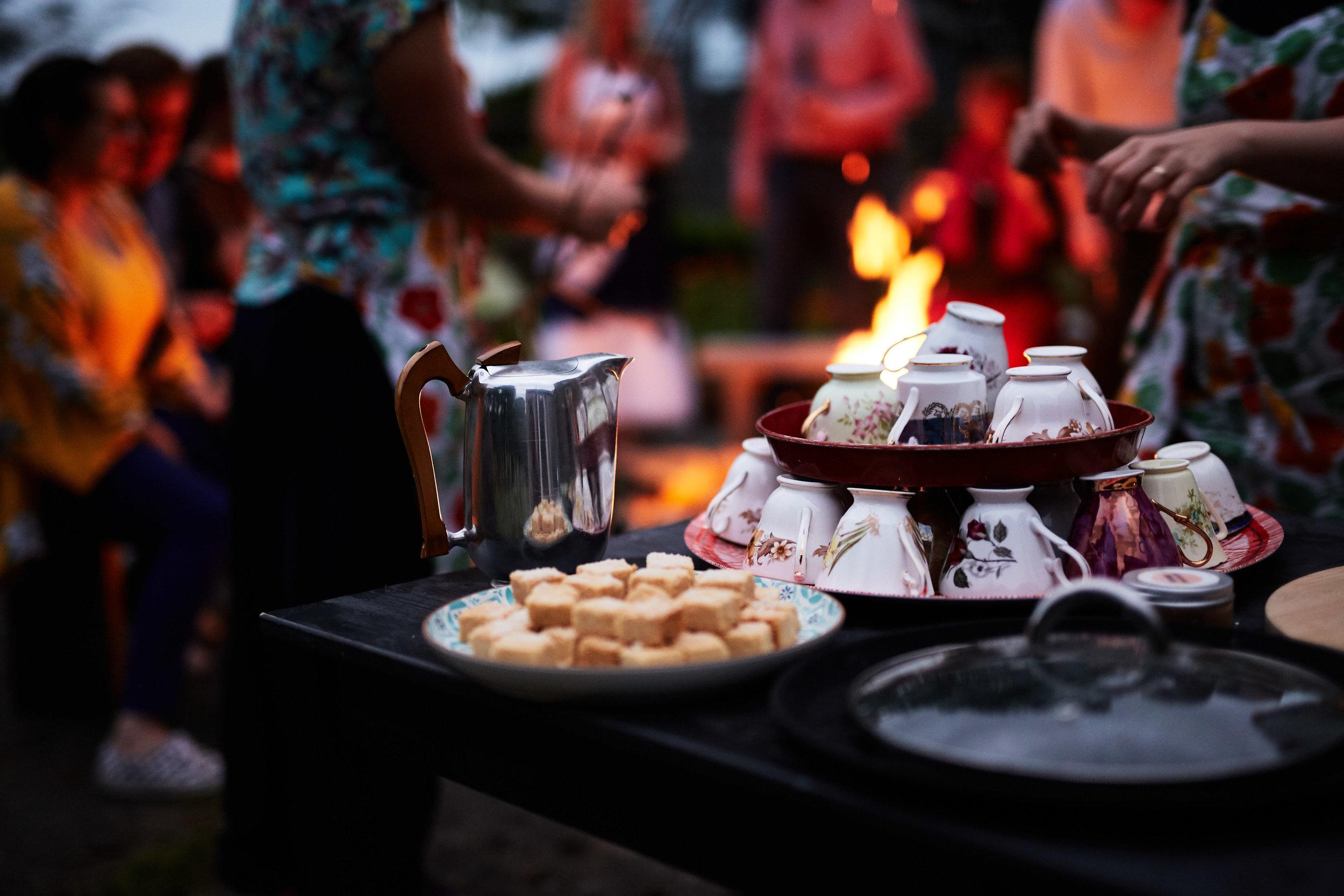 Chai tea around the fire pit