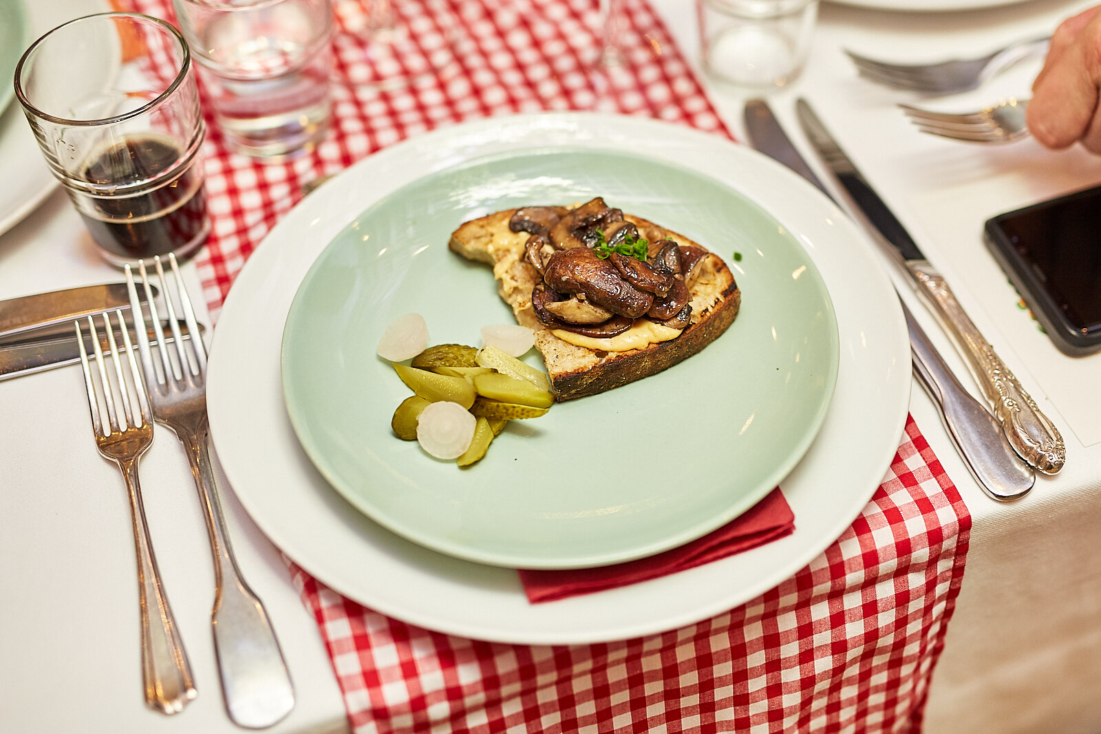 Obatzda and mushroom crostini