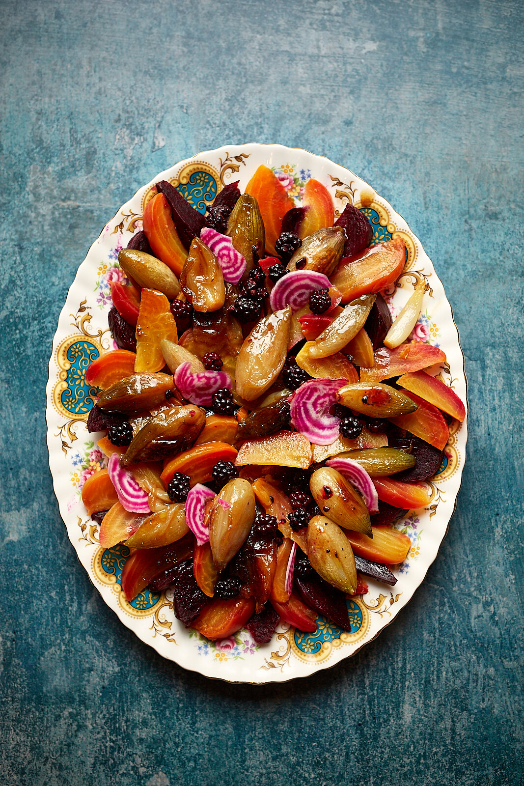Roasted beetroot and shallots with pickled blackberries
