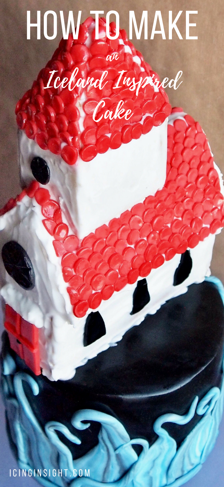 Step by step guide to make a cake and gingerbread church inspired by the beautiful village of Vik in Iceland with fondant waves