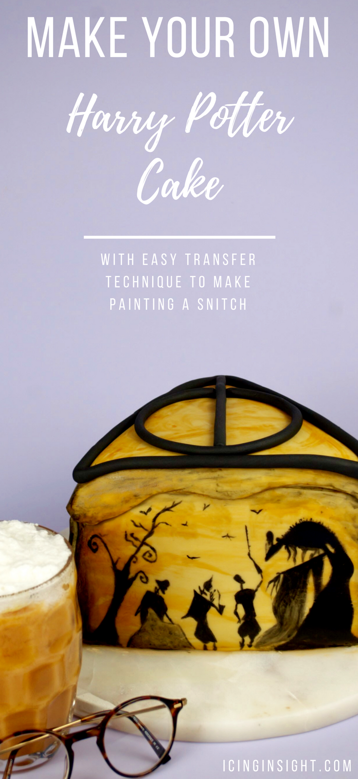 How To Make An Easy Harry Potter Cake in the deathly hallows theme. There's a super easy transfer trick with a pencil and some parchment paper to get everyone painting, even if you can't draw