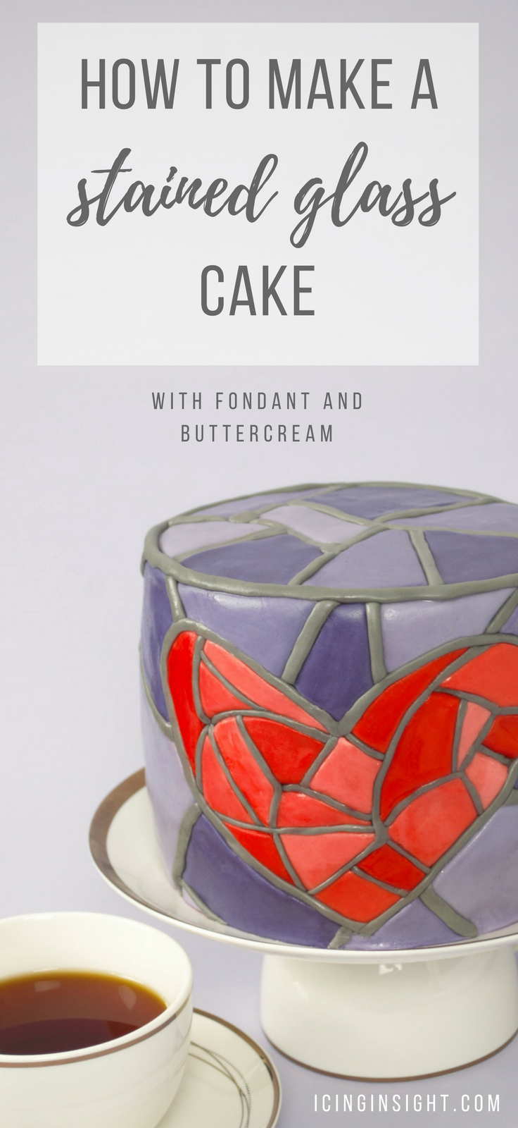 How to make a stained glass cake with fondant and buttercream. Step by step cake decorating tutorial to make the most gorgeous stained glass cake