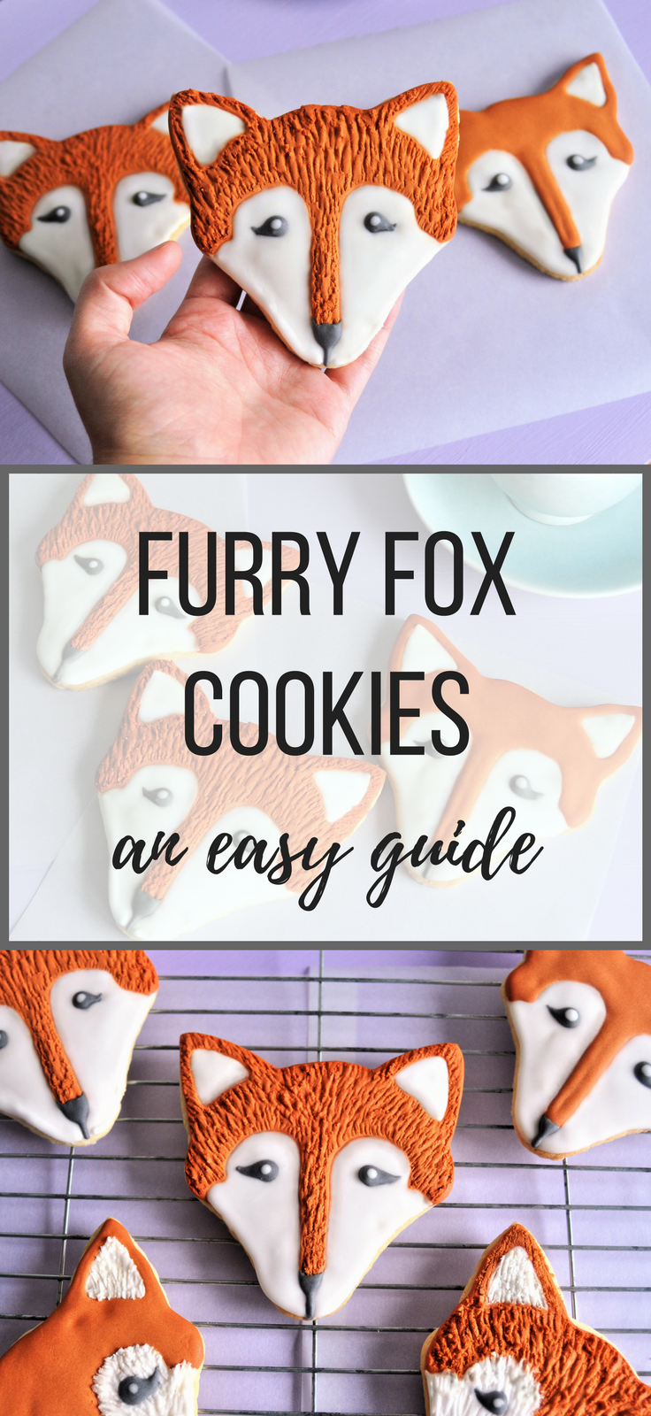 Fox cookie recipe with step by step instructions to add furry texture into the lil cuties