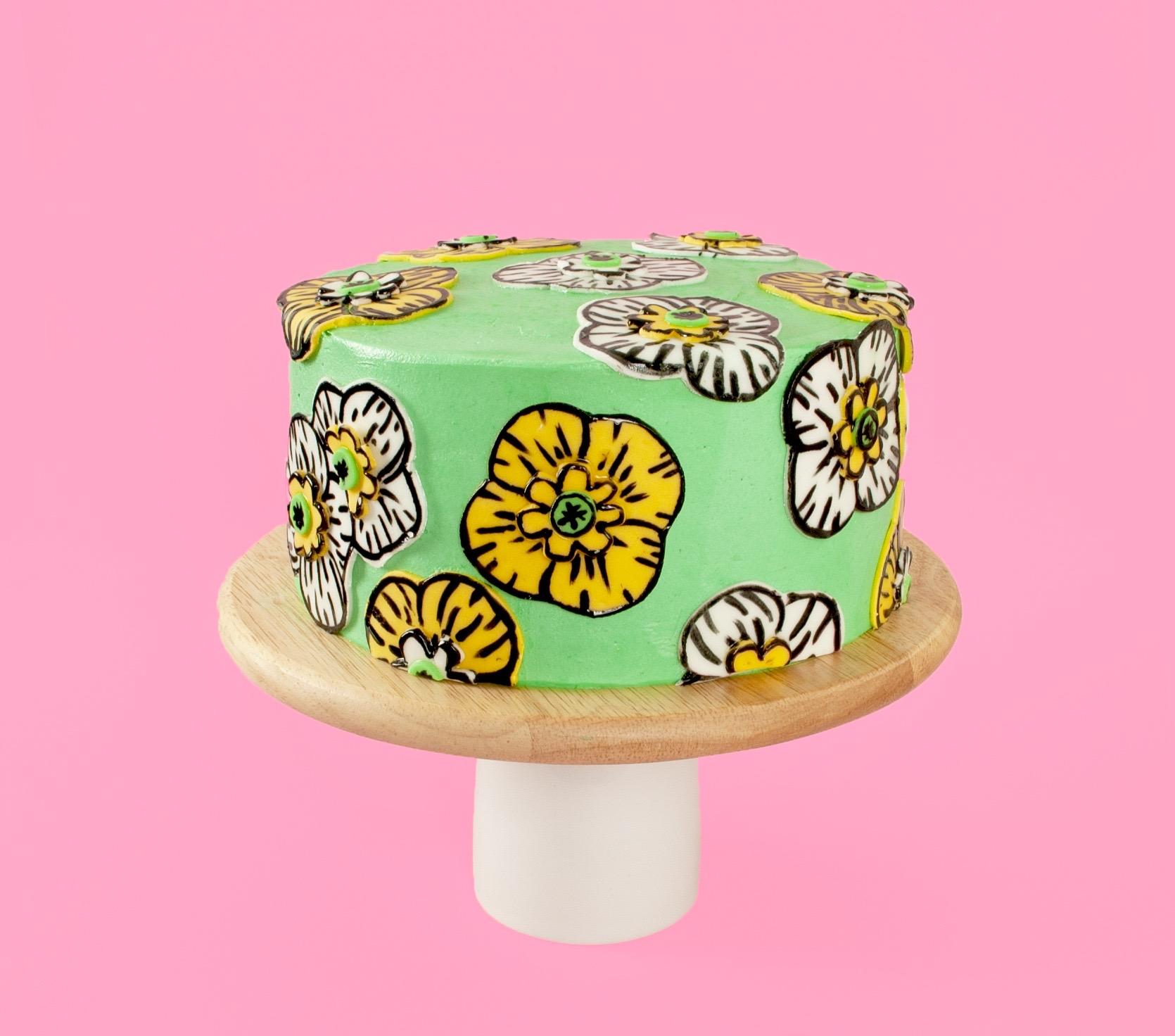 Super Cute Yellow Poppy Art Cake