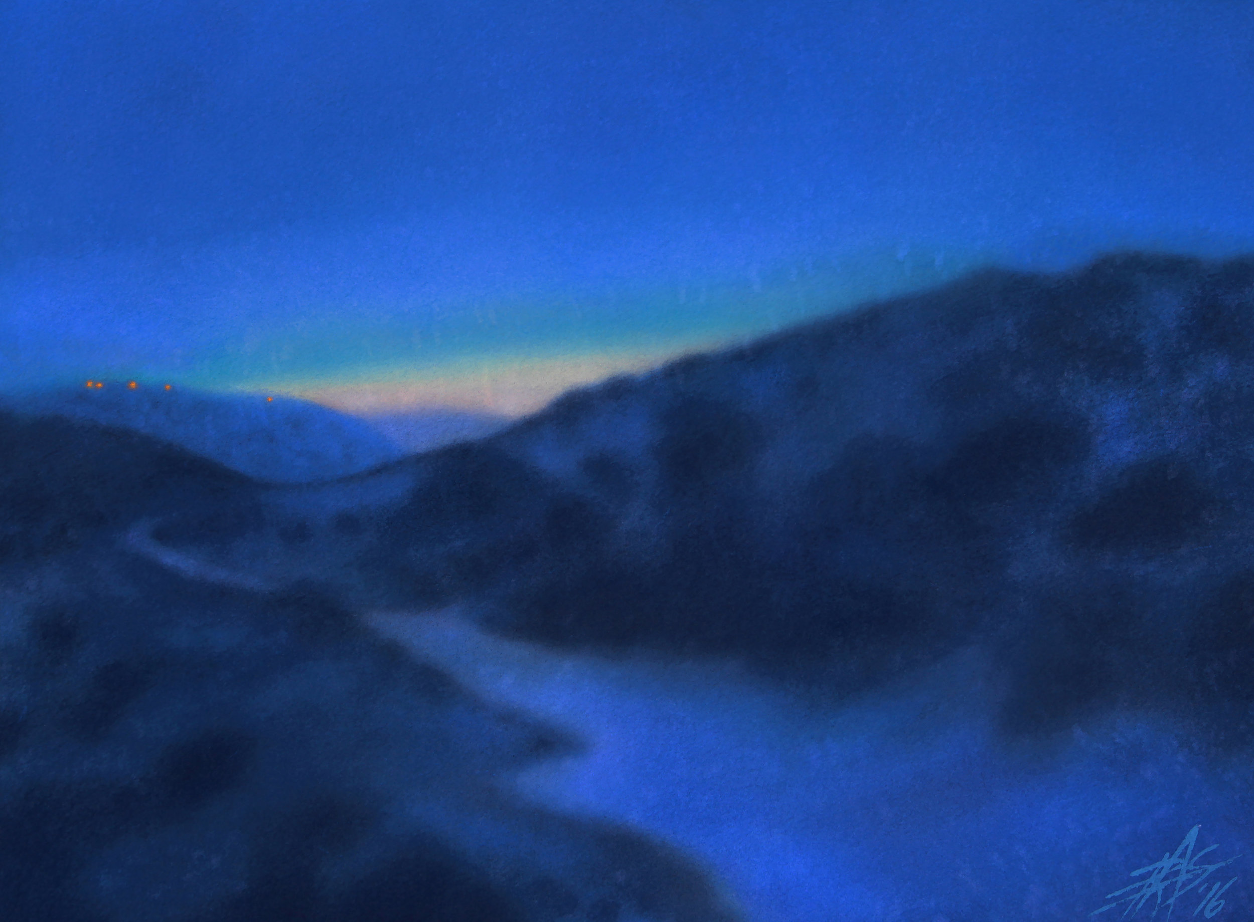 "Crepuscule (Los Peñasquitos Canyon XIV) "". Watercolor and soft pastel on 300lb cold press paper. 14"" x 19"" (36 x 48cm)."