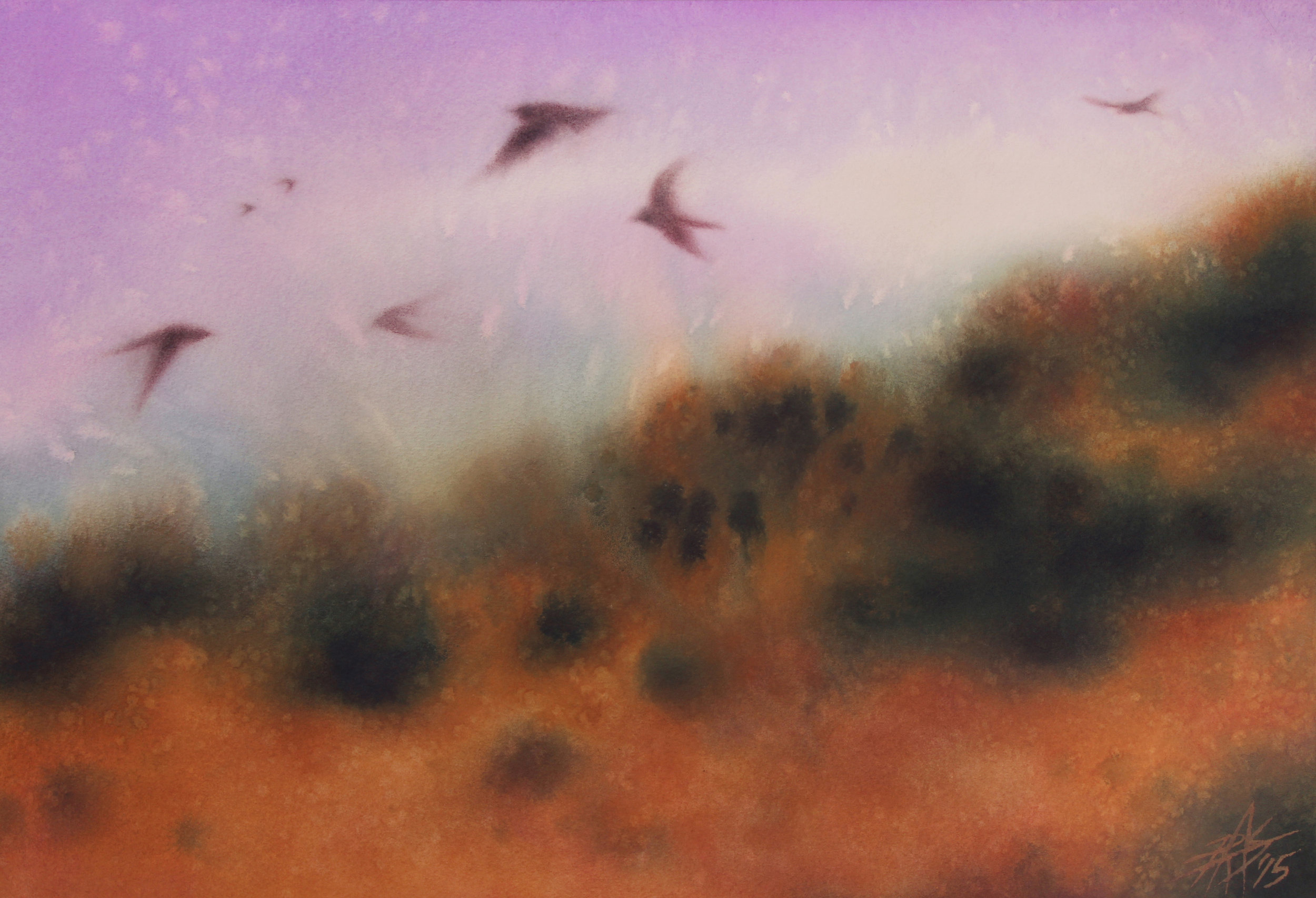 "Los Peñasquitos Canyon VIII (the Swallows Return).  Watercolor and soft pastel on 300lb cold press paper. 13"" x 19"" (33 x 48cm)."
