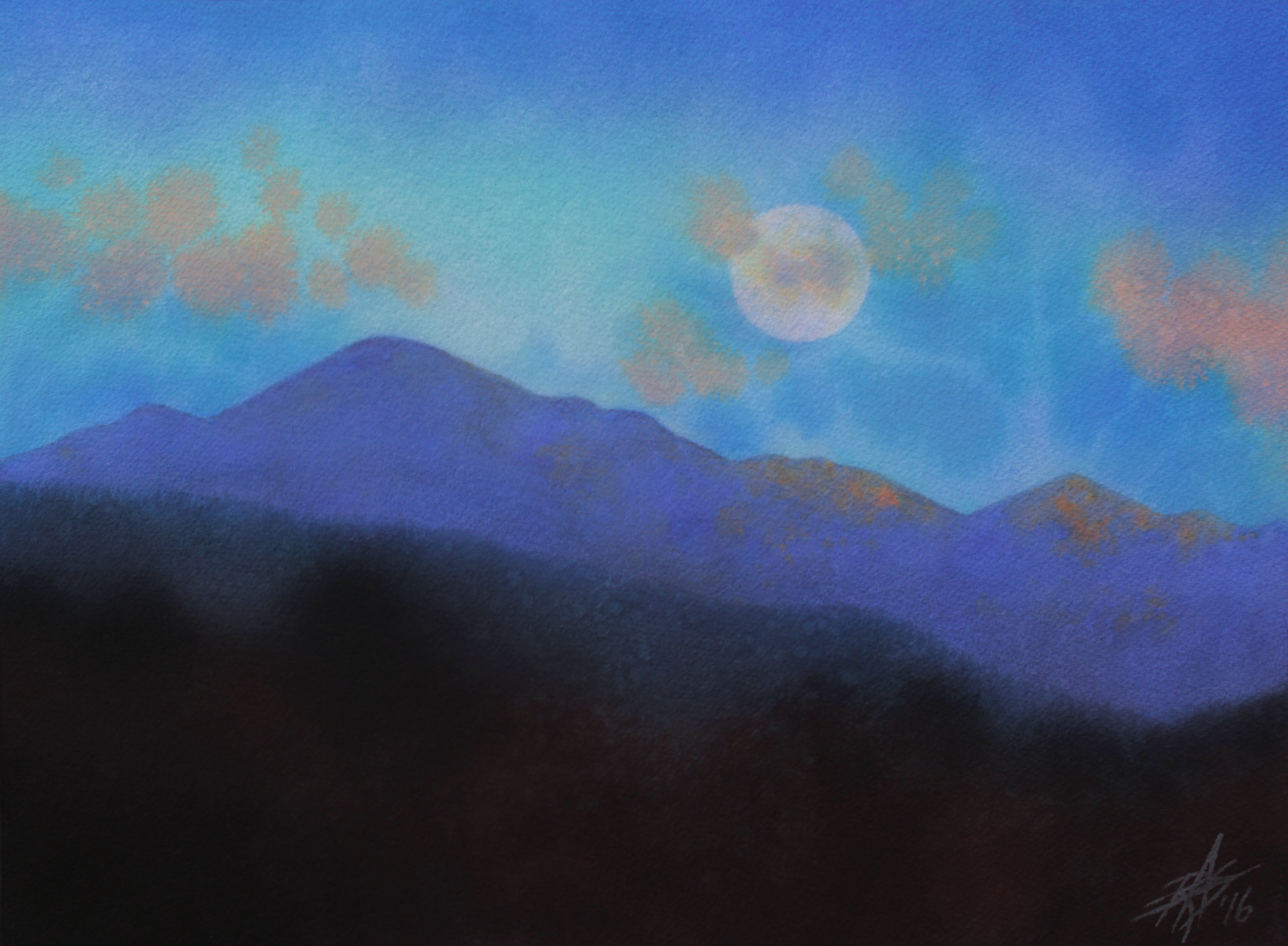 "Last Light with Moonrise over Iron Mountain . Watercolor and soft pastel on 300lb cold press paper. 14"" x 19"" (36 x 53cm"