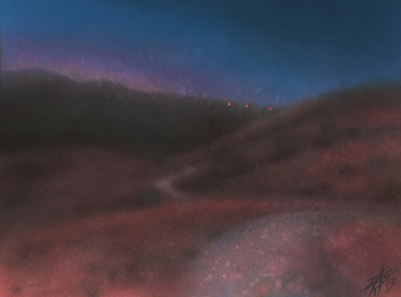"Los Peñasquitos Canyon IV . Watercolor and pastel on 300lb hot press paper.  12"" x 16"" (31 x 41cm)."