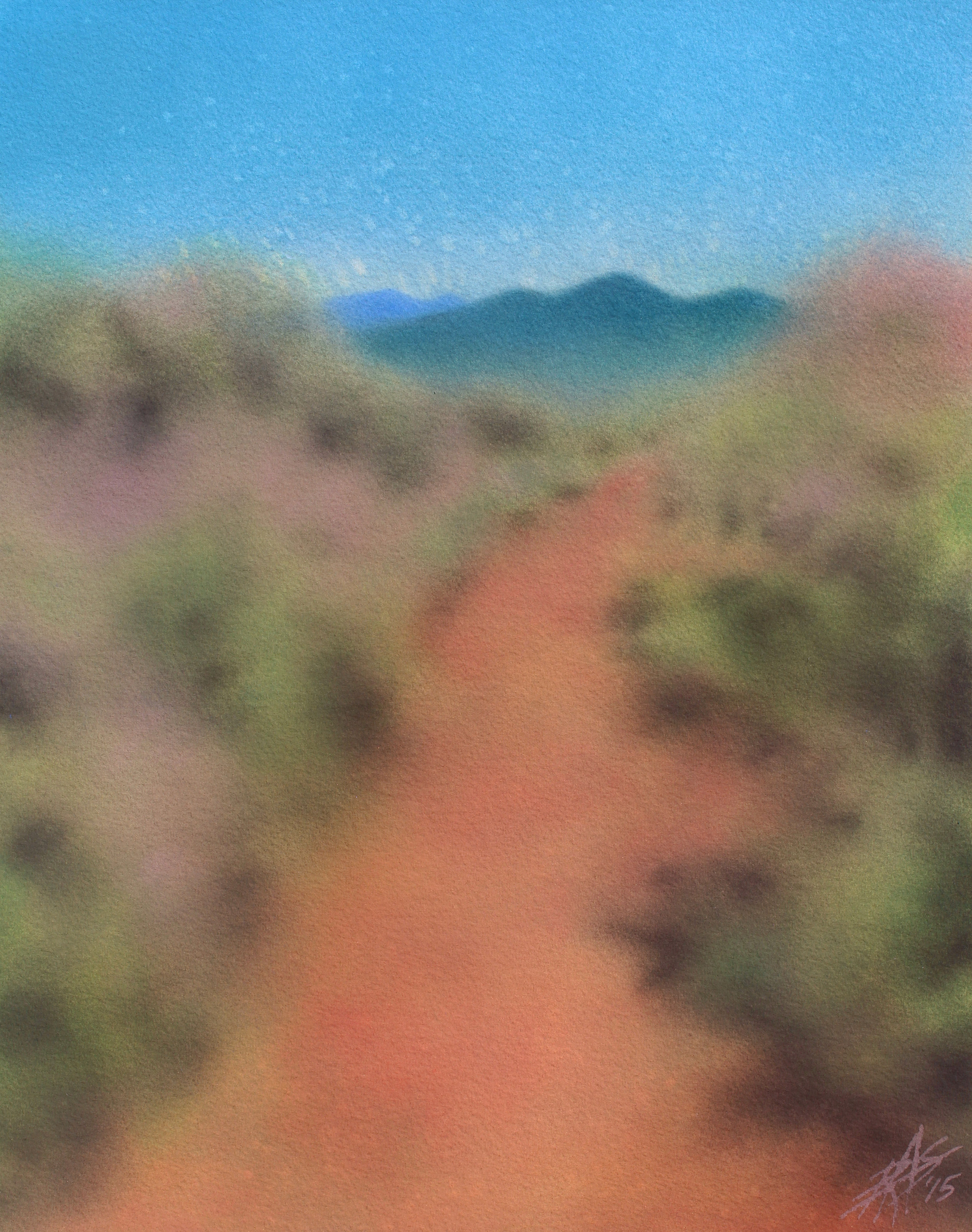 "Chaparral Path to Black Mountain II.  Watercolor and soft pastel on 300lb cold press paper.  15"" x 19"" (38 x 48cm)."