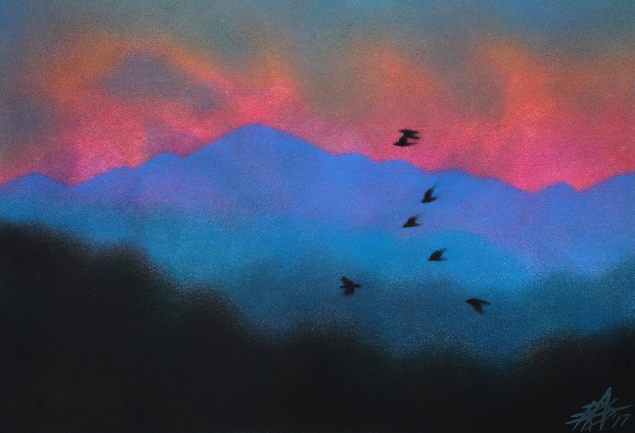 "Departure (Crows at Dawn).  Watercolor and soft pastel on 140lb cold press paper. 13"" x 19"" (33 x 48cm)."