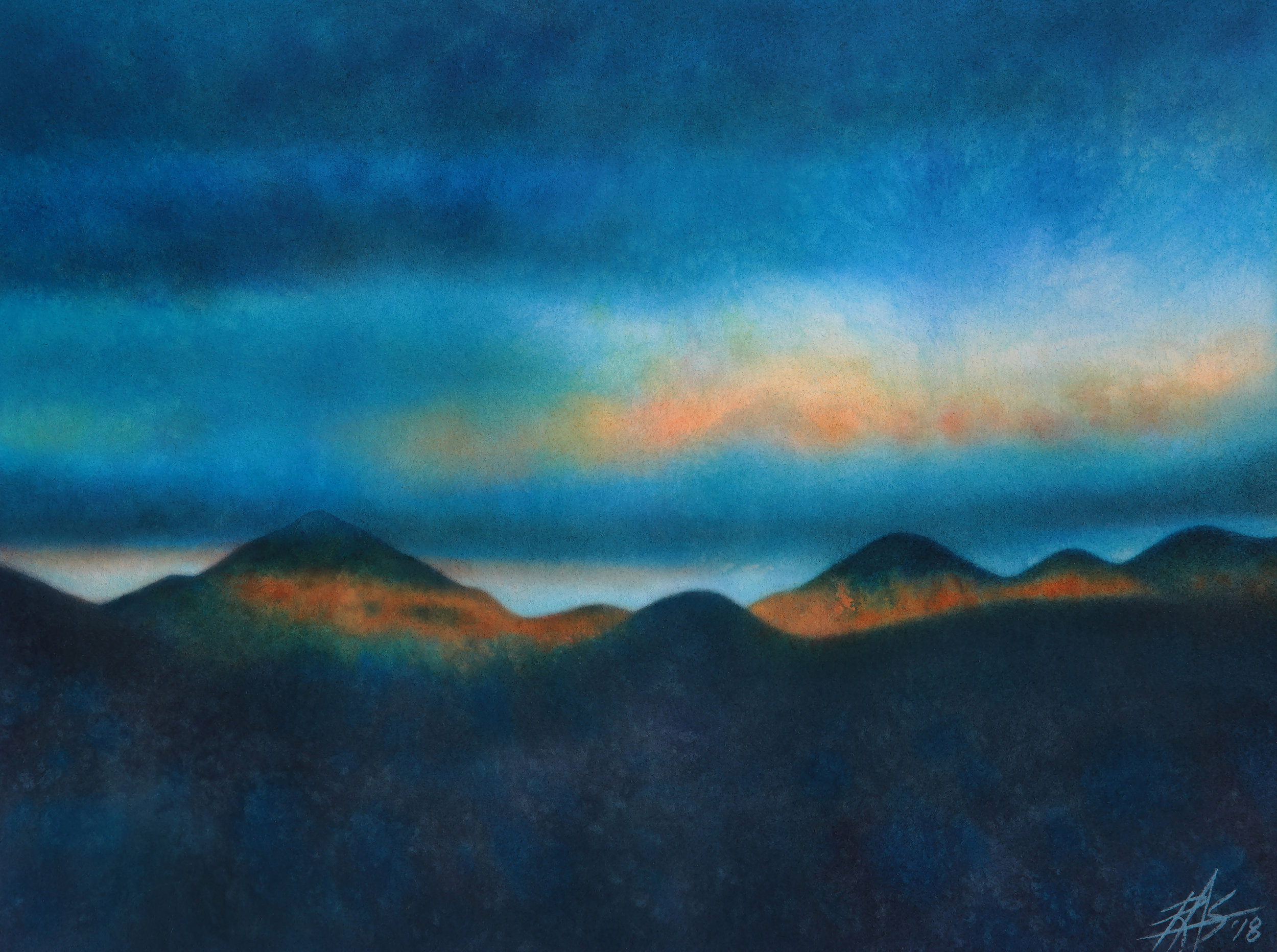 "Bank of Passing Clouds.  Transparent watercolor and soft pastel on 300lb hot press paper. 15"" x 20"" (38 x 51cm)."
