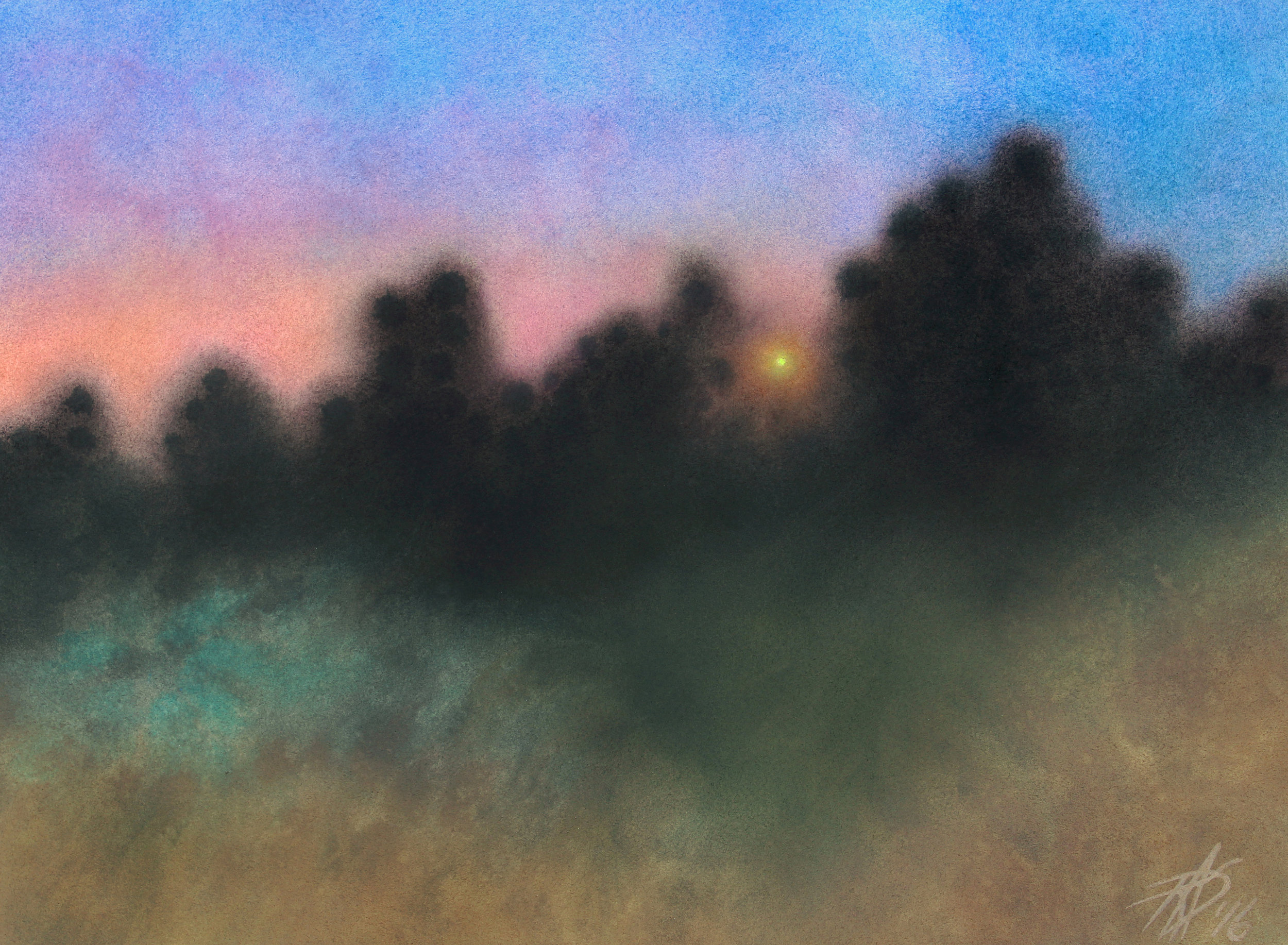 "Los Peñasquitos Canyon Preserve XII (Walking with Bats and Owls).  Watercolor and soft pastel on 300lb hot press paper. 14"" x 19"" (36 x 48cm)."