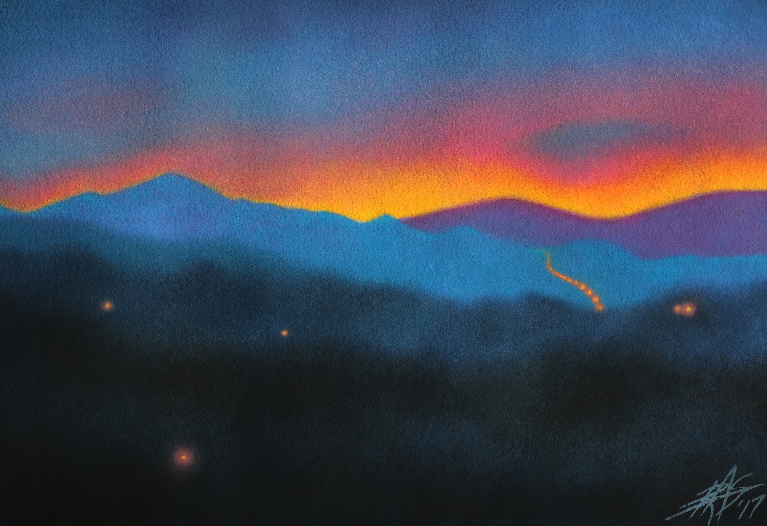 "Westbound at Dawn.  Watercolor and soft pastel on 300lb cold press paper. 14"" x 20"" (36 x 51cm)."