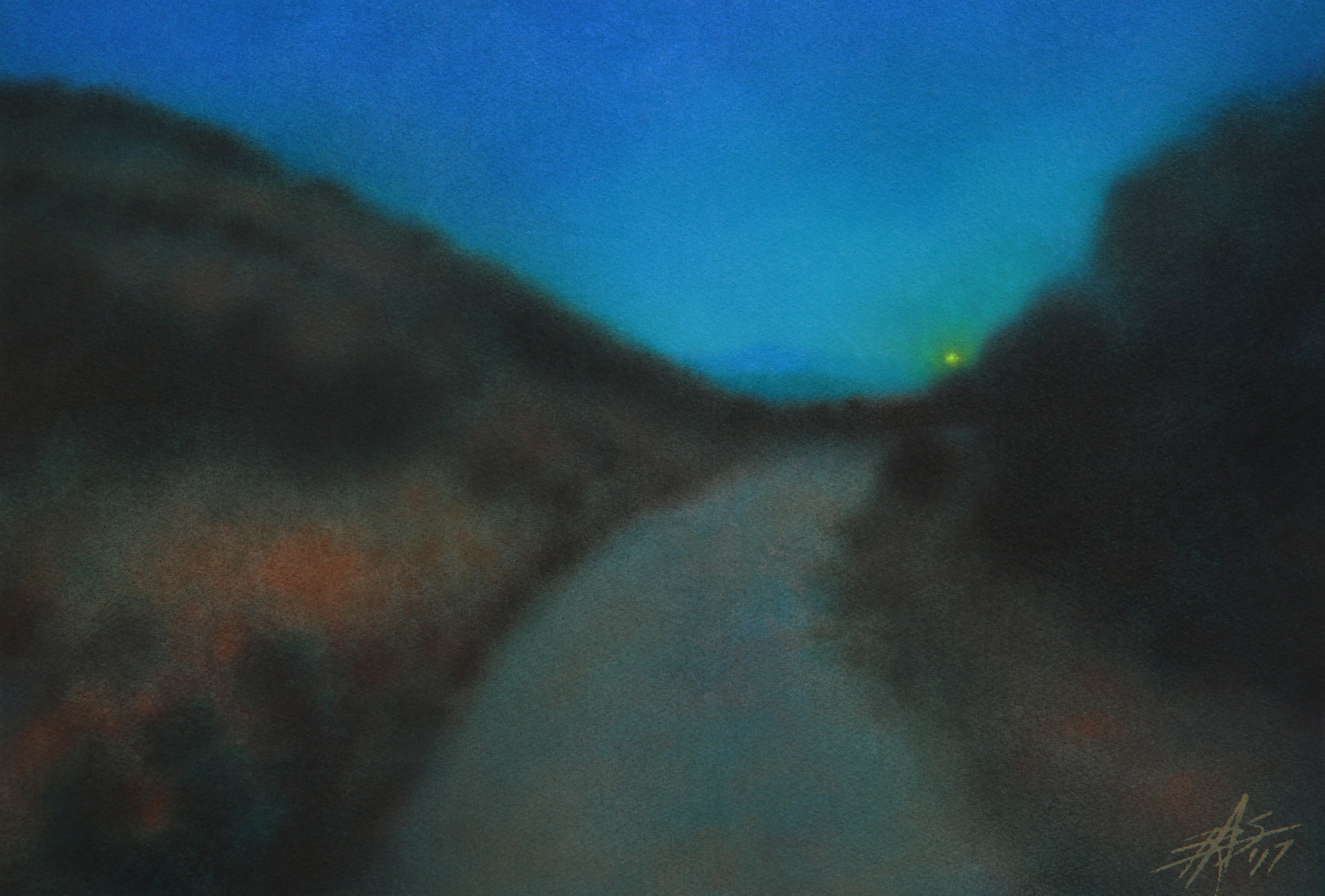 "Crepuscule II.  Transparent watercolor and soft pastel on 300lb cold press paper. 13"" x 19"" (33 x 48cm)."