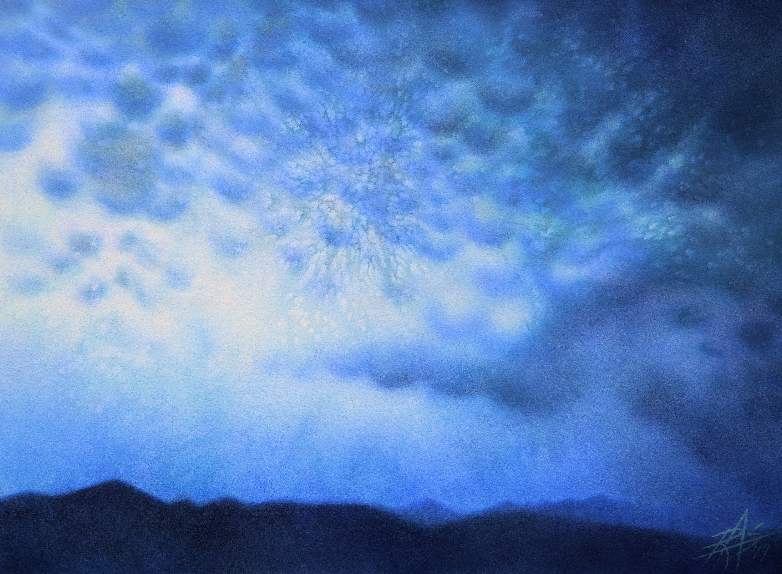 "Winter Storm (Mammatus Clouds over Black Mountain).  Transparent watercolor and powdered soft pastel on 300lb hot press paper. 14"" x 19"" (36 x 48cm)."