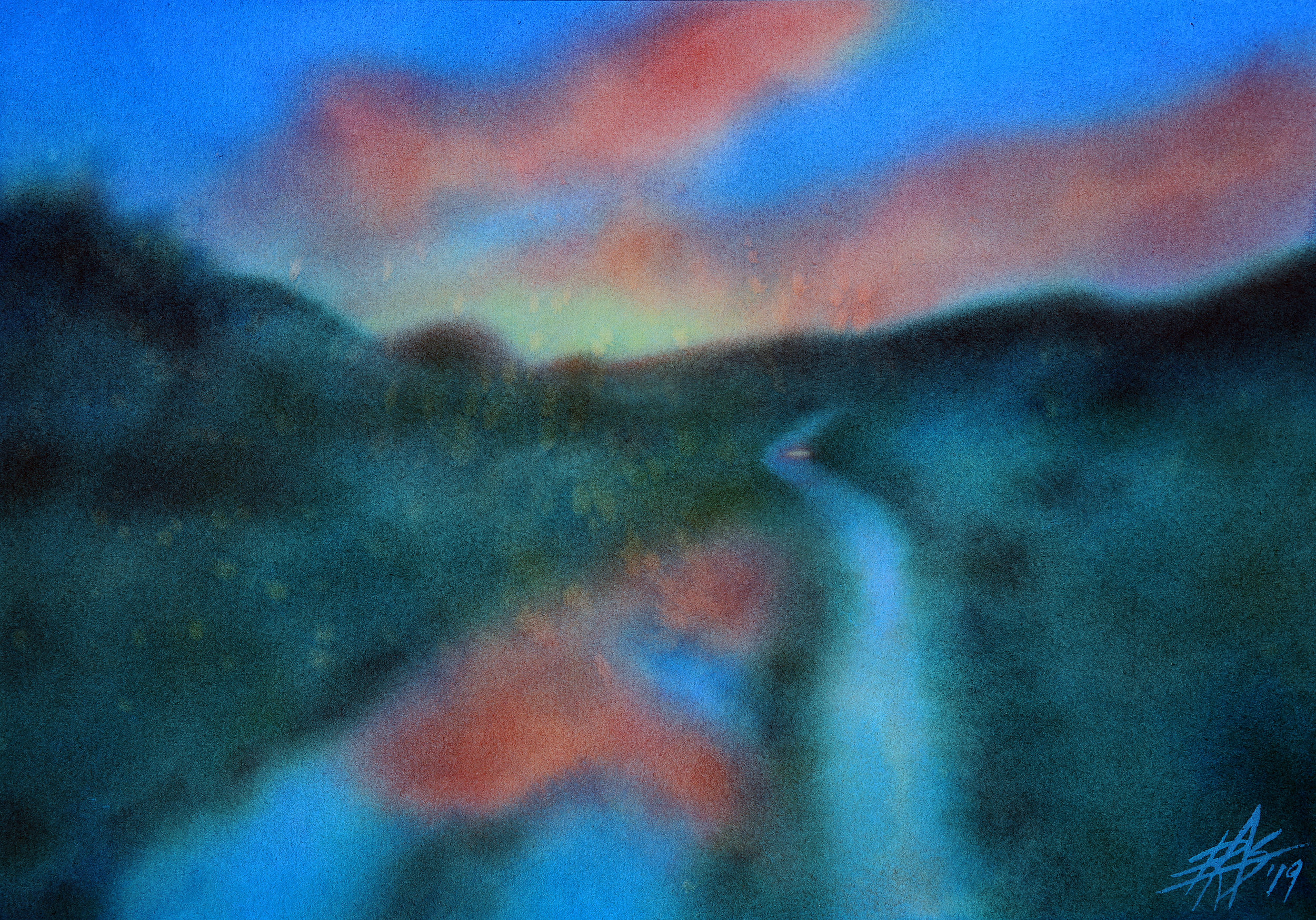 "Los Peñasquitos Canyon XVI.  Transparent watercolor and powdered soft pastel on 300lb hot press paper. 14"" x 20"" (36 x 51cm)."