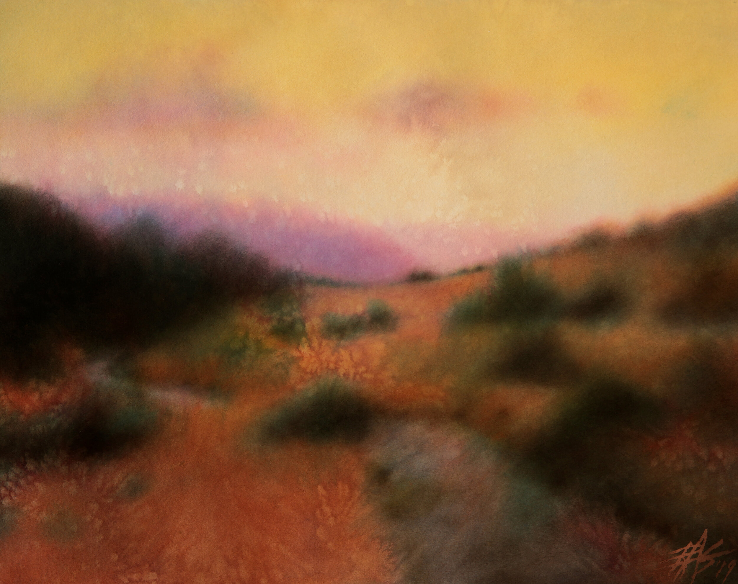 """Los Peñasquitos Canyon XVII . 2019. Transparent watercolor and powdered soft pastel on 300lb hot press paper. 15"""" x 19"""" (38 x 48cm)."""