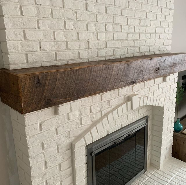 Faux beam mantel installed today 🙌