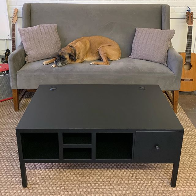 Aluminum coffee table, powder coated in flat black, lots of storage and charging ports for you and all your whole crew 😎⚡️🐶 . . . . #custom #coffeetable #chicago #handmade #custommade #aluminum #table #design #furnituredesign #commercialfurniture #smarttable