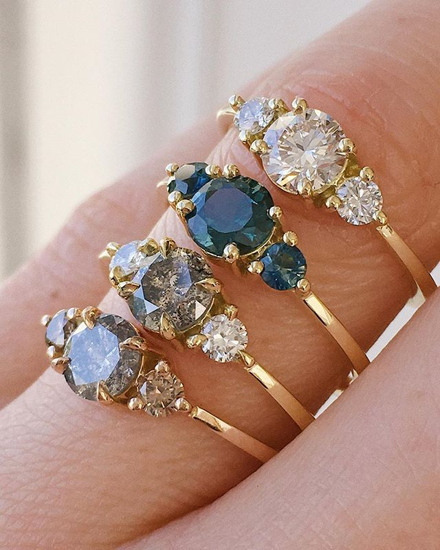 New trilogy rings available including a brilliant cut white diamond, beautiful bi-colour sapphires and two salt and peppers