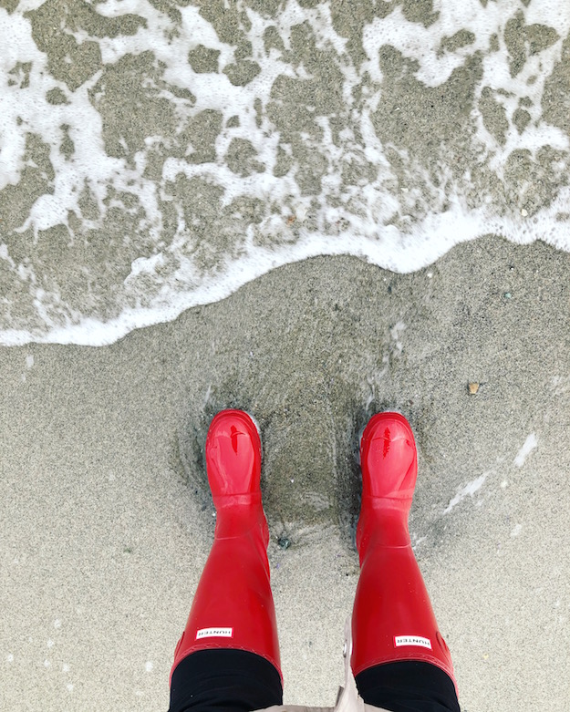 A new year, a new me. Red Hunter rubber boots on Air Force Beach in Comox, BC.