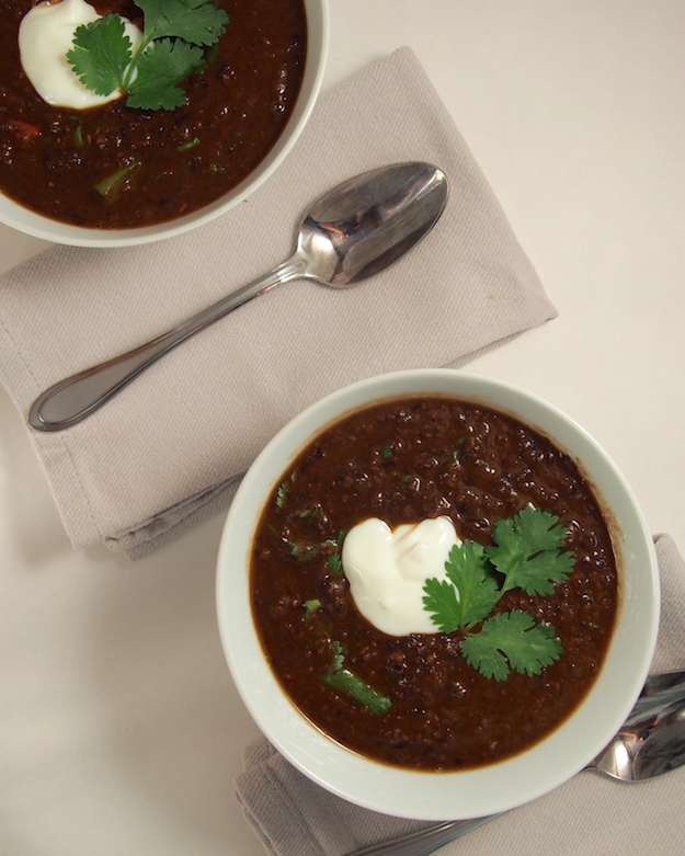 Registered Dietitian Nutritionist approved recipe for healthy black bean soup.