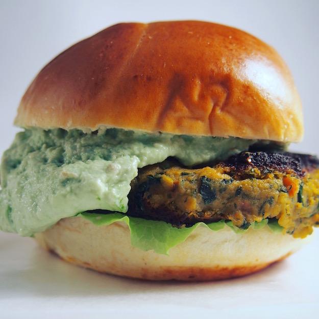 Registered Dietitian Nutritionist recipe for vegan burgers with avocado crema