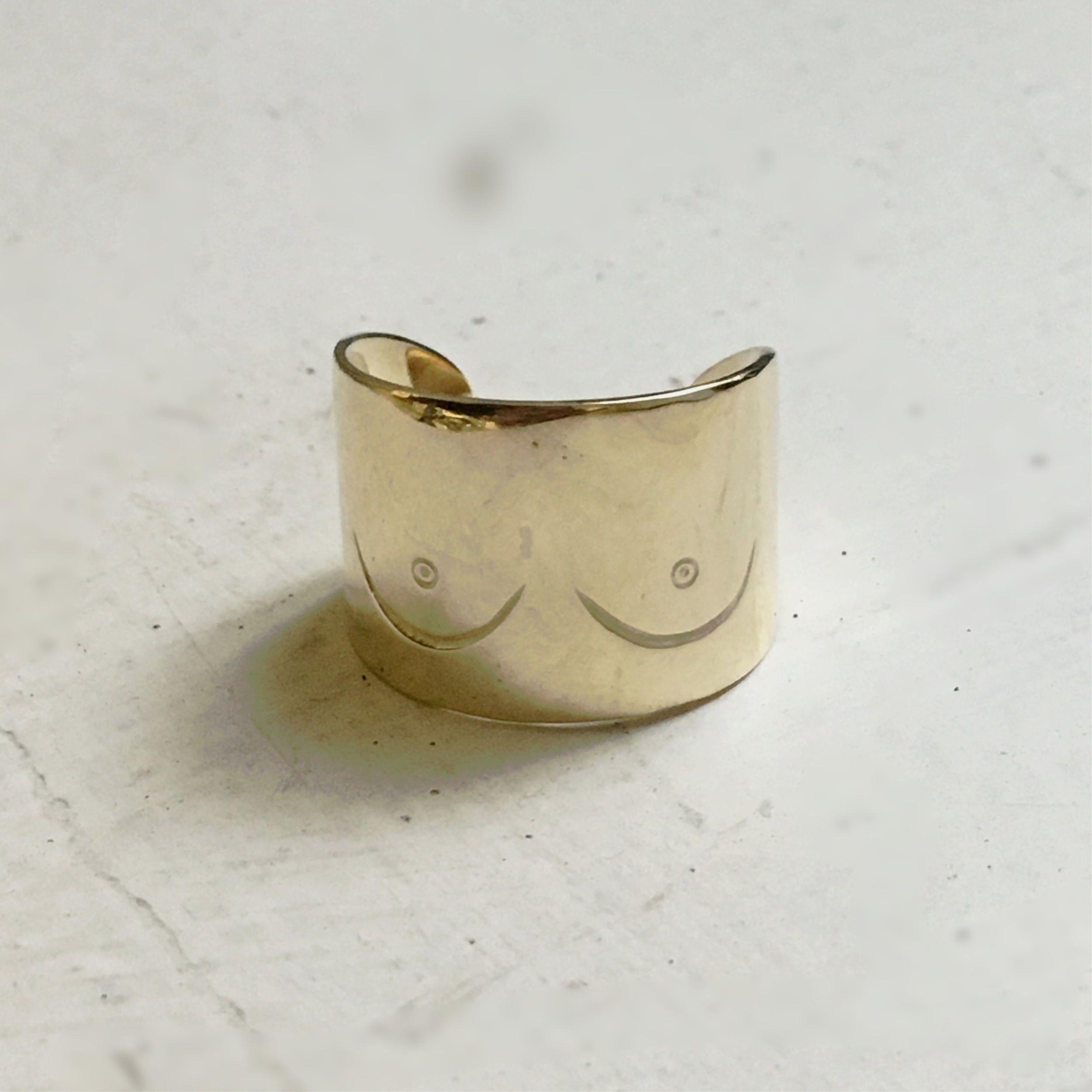 BOOBY RING YELLOW GOLD FEMINIST BOOB JEWELRY