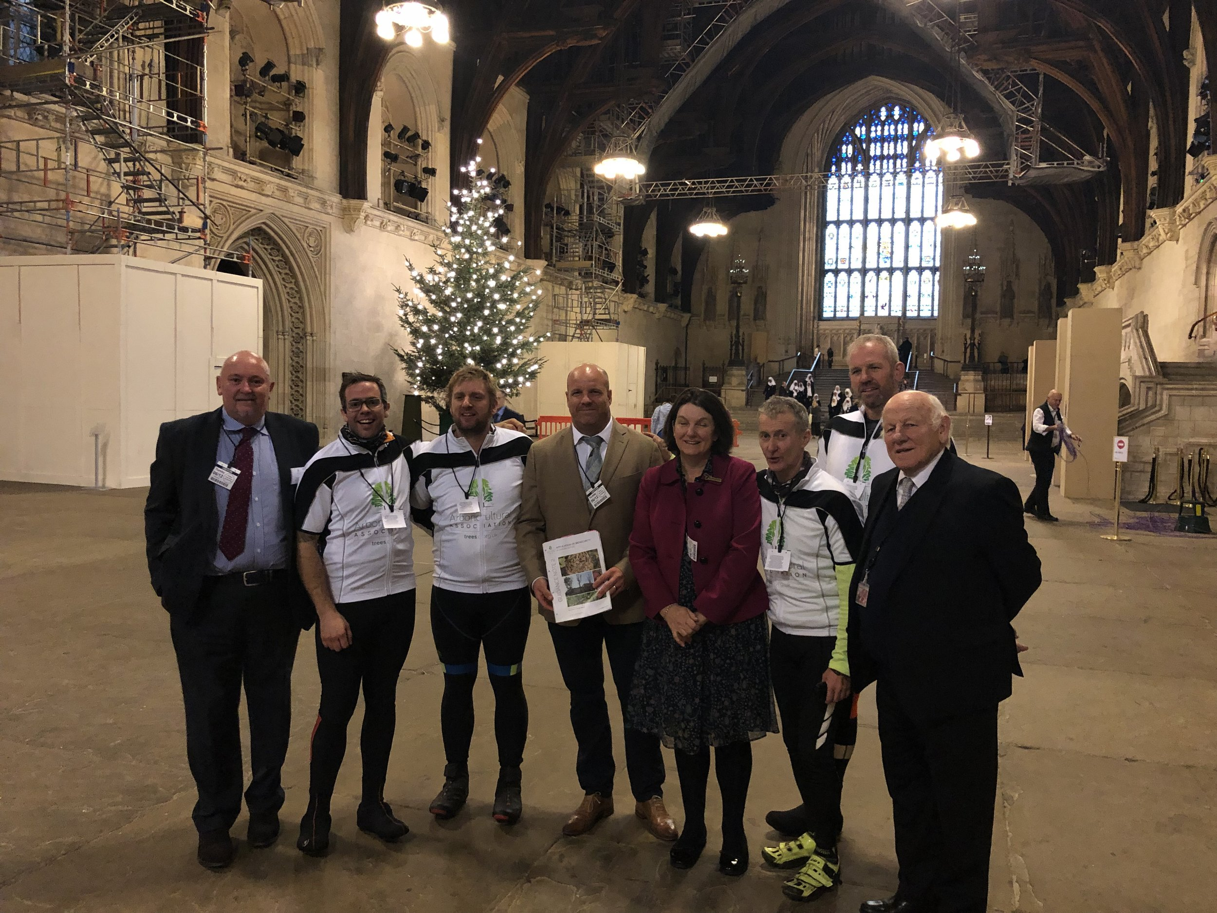 Ride4Research delivering the Arboricultural Associations Biosecurity document to the House of Commons