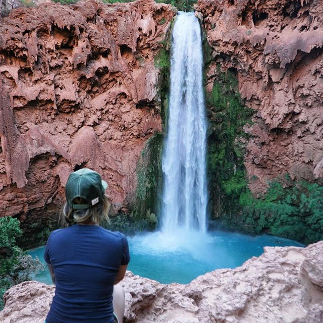 Chasing waterfalls with Pickens in #havasupai  Anyone have a guess on how high Mooney Falls is...??