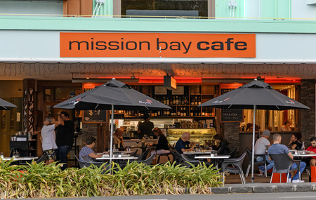 MISSION BAY CAFE   Kids Eat Free   This may be your favourite place for a coffee after you've dropped the kids at school, and now you can treat your kids to dinner out during the school holidays. Kids dine free after 5pm daily.*  Ph 528 0017   for more info  *Age limit 12. One child with every full paying adult.