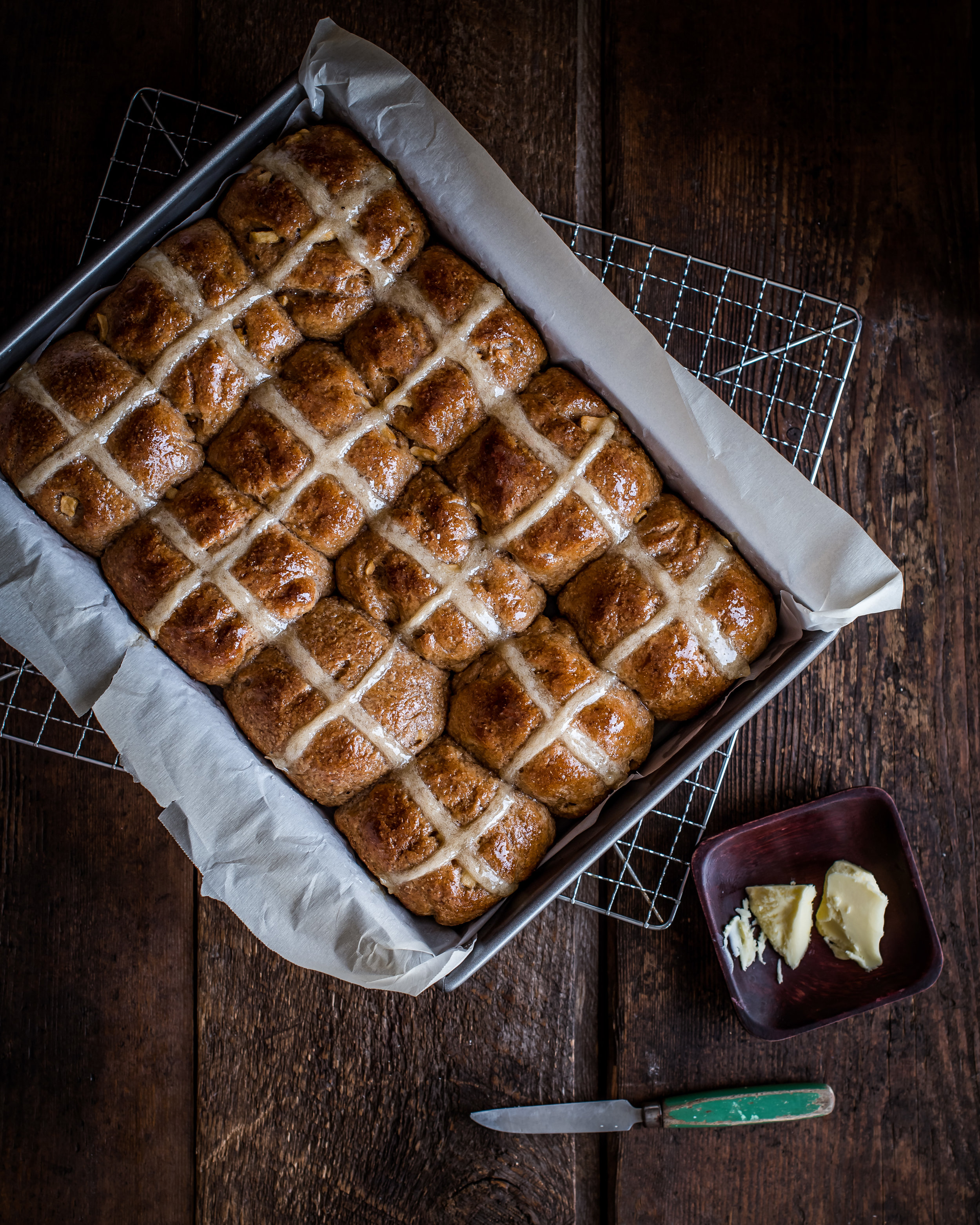 Whole Wheat Apple Cinnamon Hot Cross Buns