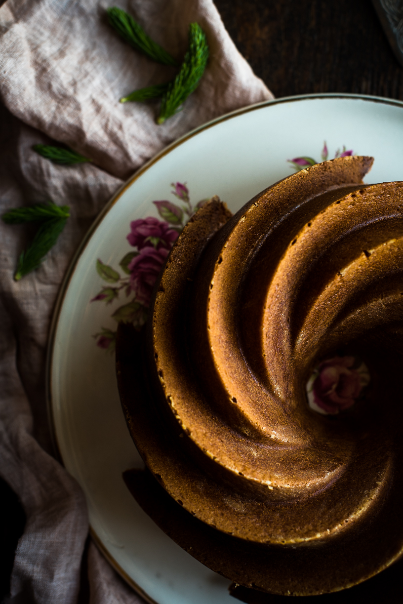 Lilac and Spruce Tip Honey Infused Vanilla Bundt Cake