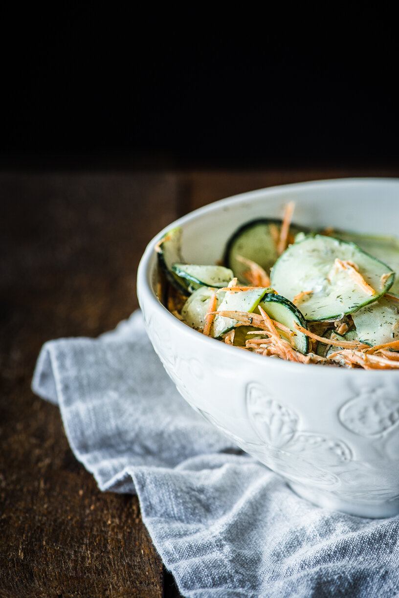Raw Carrot & Cucumber Salad with a Creamy Dill Vinaigrette