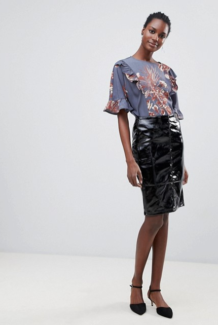 SS19 Patent Trend- Patent Midi Skirt
