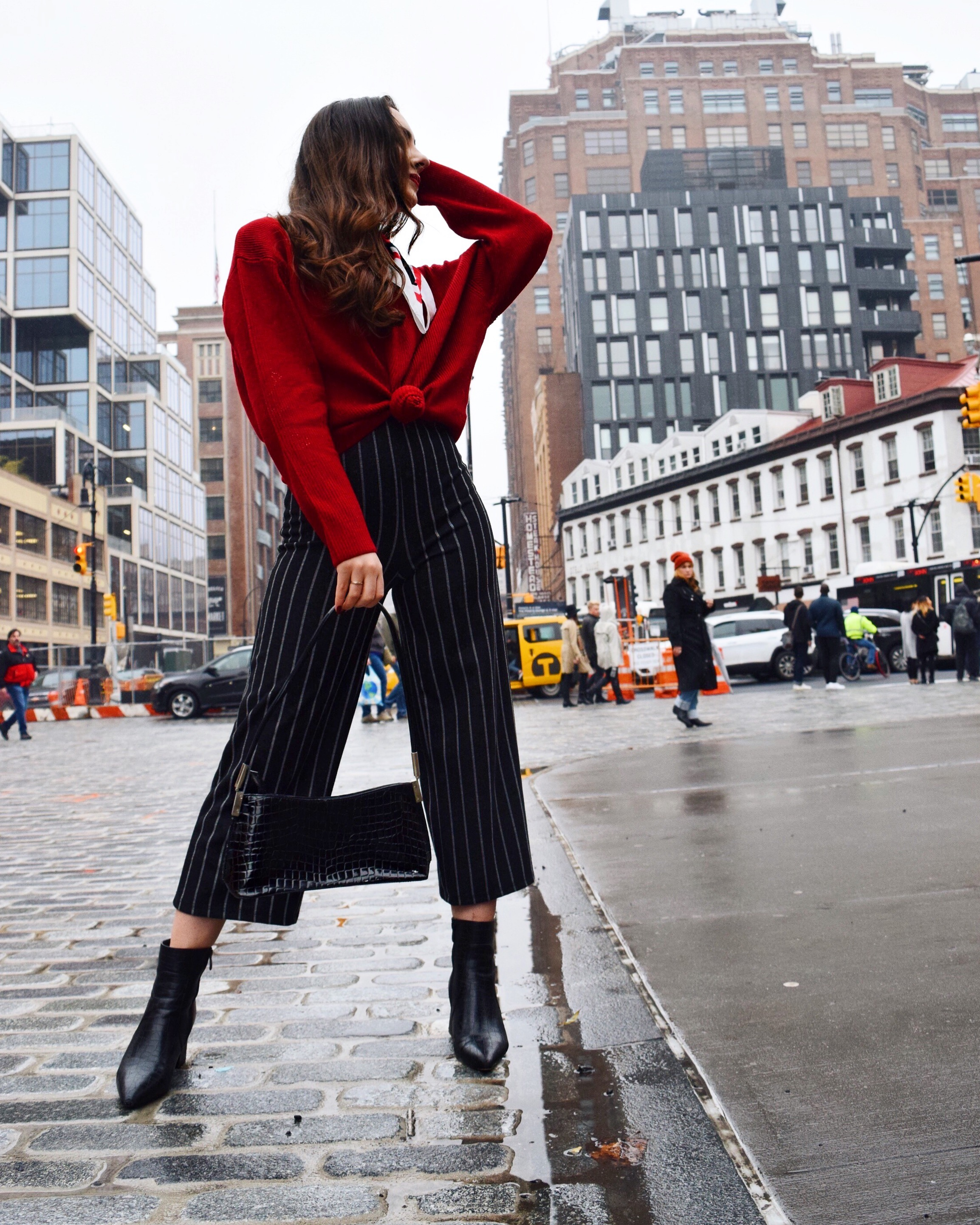 Zara Sweater, Bershka Jumpsuit (Pants), Nasty Gal Booties