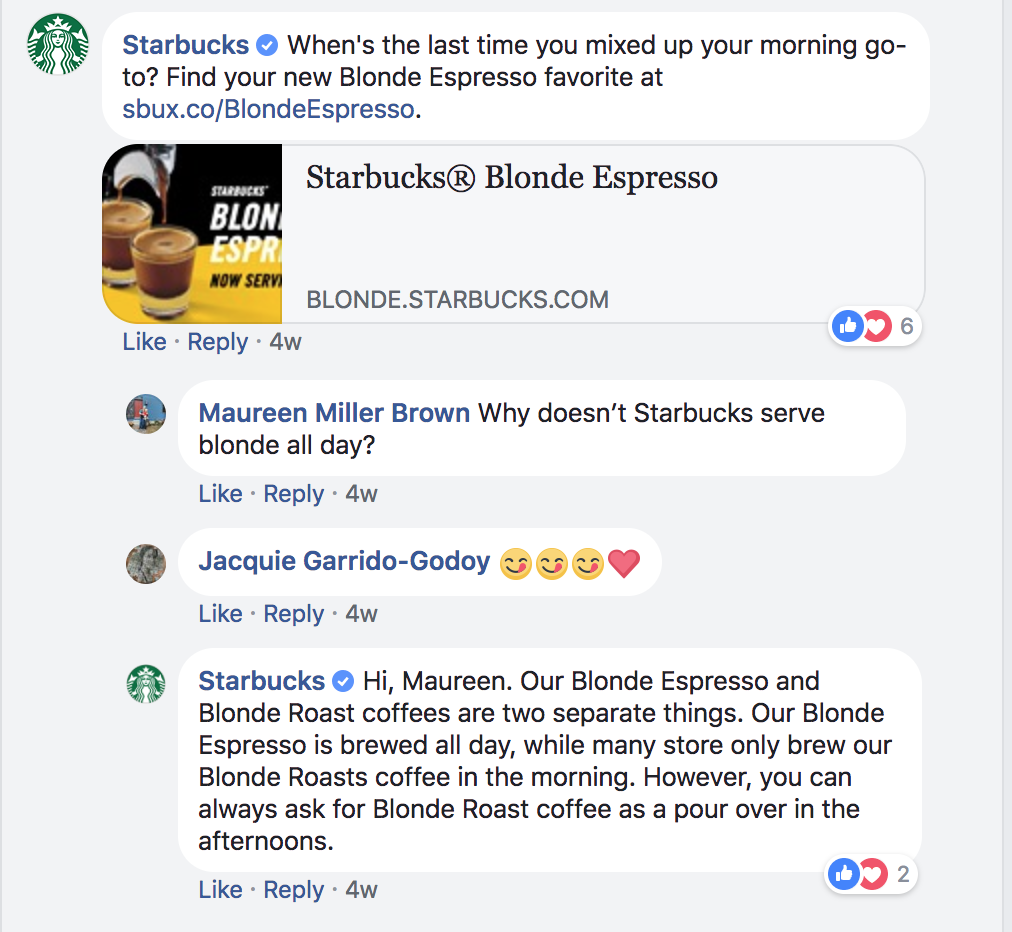 Starbucks facebook engagement