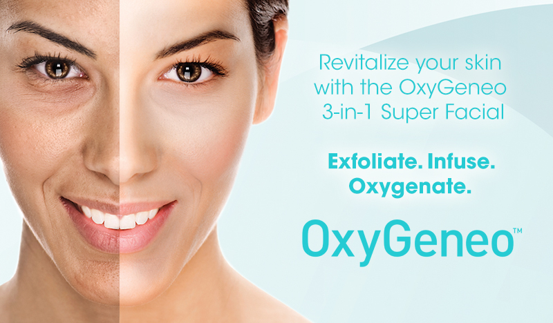 OxyGeneo™ Facials & Skin Tightening - OxyGeneo™ is an innovative skin renewal treatment that delivers 3 essential treatments simultaneously as it exfoliates the outer layer of the skin, infuses it with revitalizing nutrients and stimulates its oxygenation. Get the exfoliation benefits of microdermabrasion plus deep facial rejuvenation. OxyGeneo™ treatments are suitable for all skin types – any ethnicity and pigmentation, sensitive skin, and even for those who keloid (scar) and couldn't otherwise have abrasion treatments.A single platform can now deliver skin nourishment and skin tightening, while also reducing the appearance of wrinkles. The platform uses Radio Frequency for TriPollar skin tightening, firming and rejuvenation.