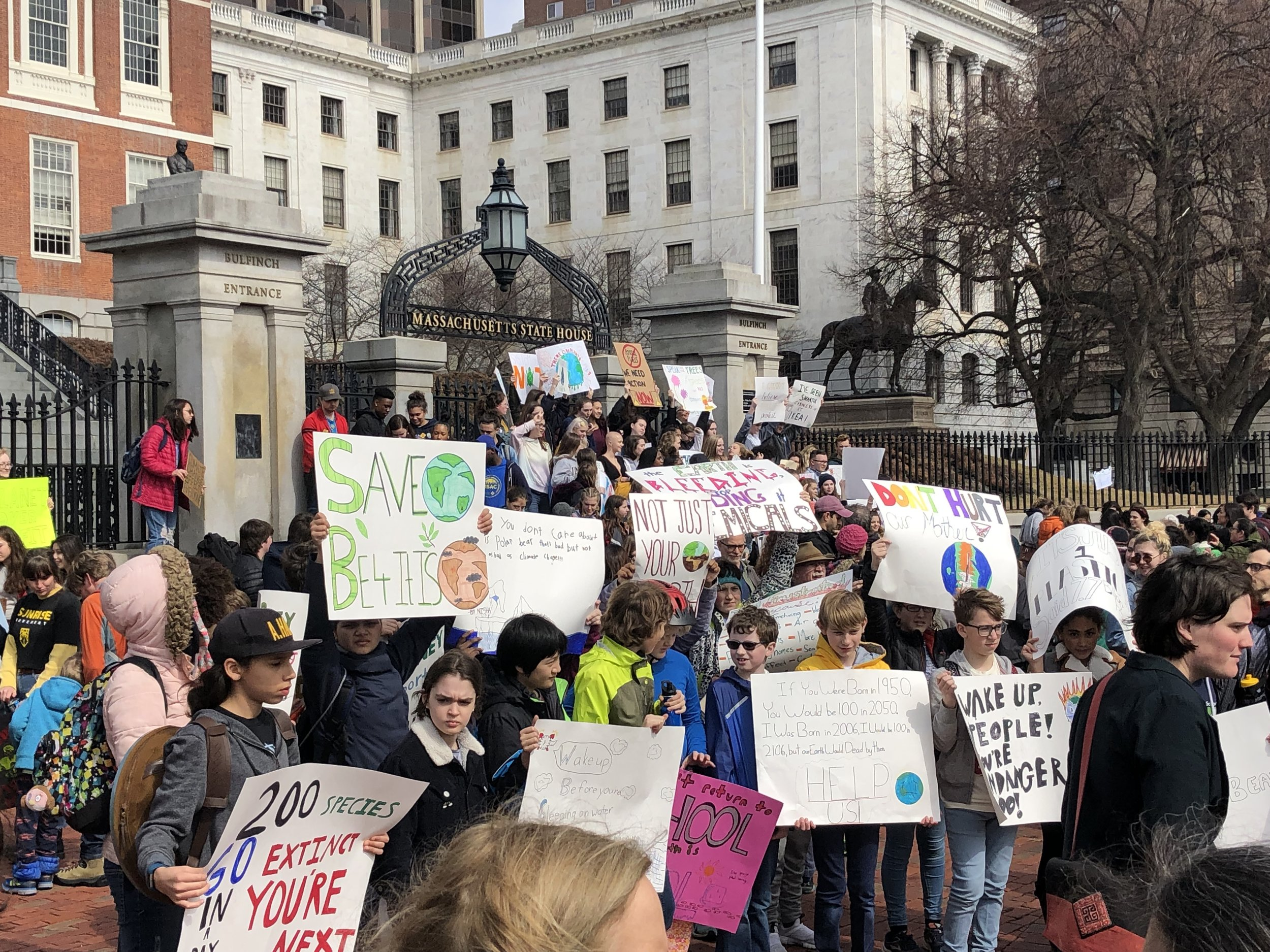 International Student Strike at Massachusetts State House, Boston MA, March 15, 2019