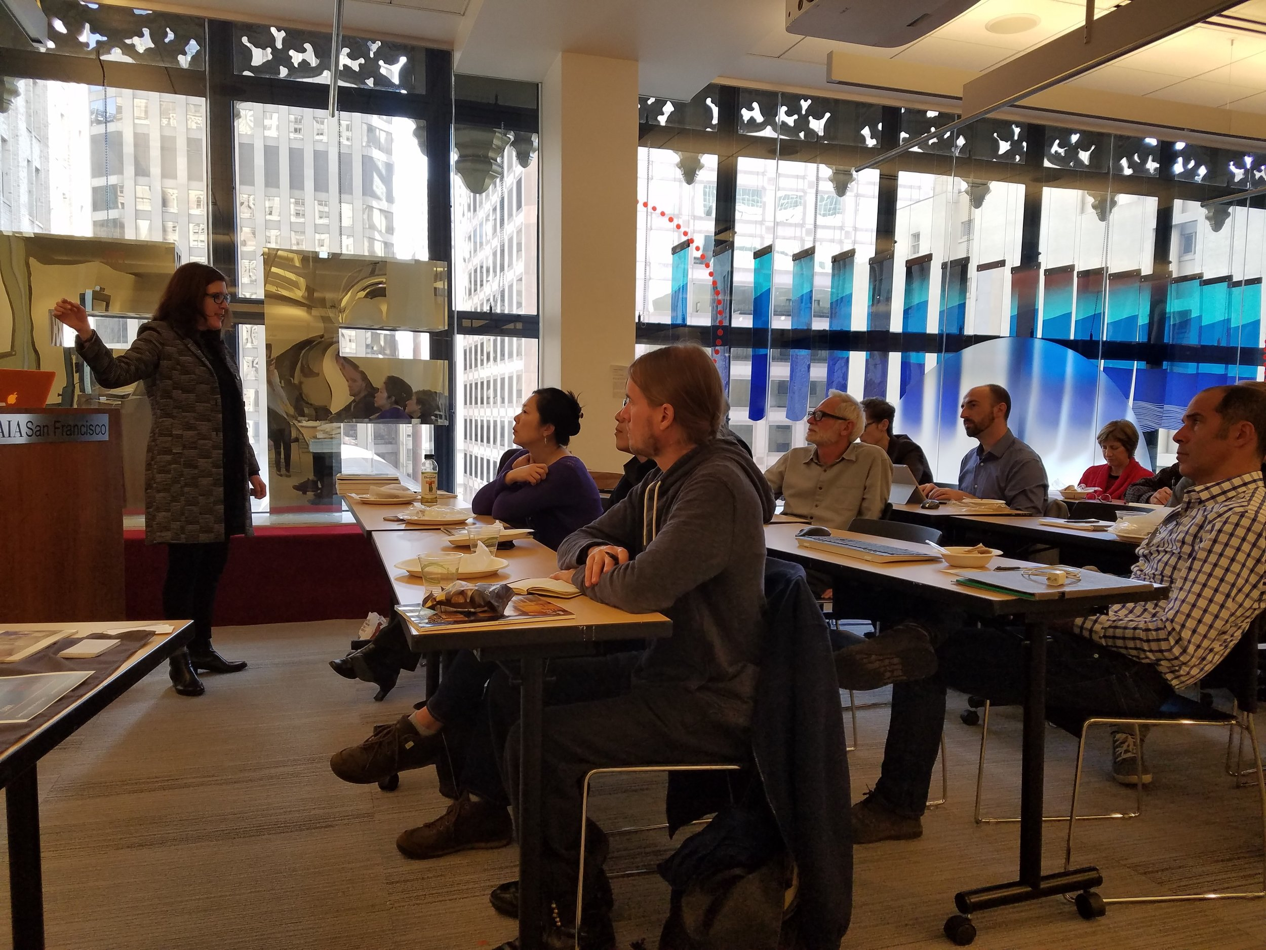 Therese Lahaie training architects and lighting designers in LED Lighting technology at AIA headquarters in San Francisco, California.
