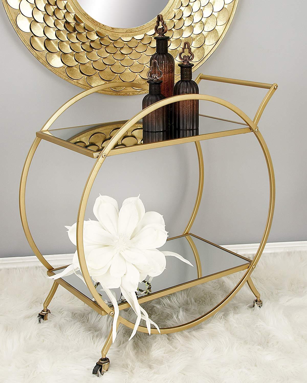 Gold Circle Bar Cart Wallflower Rentals