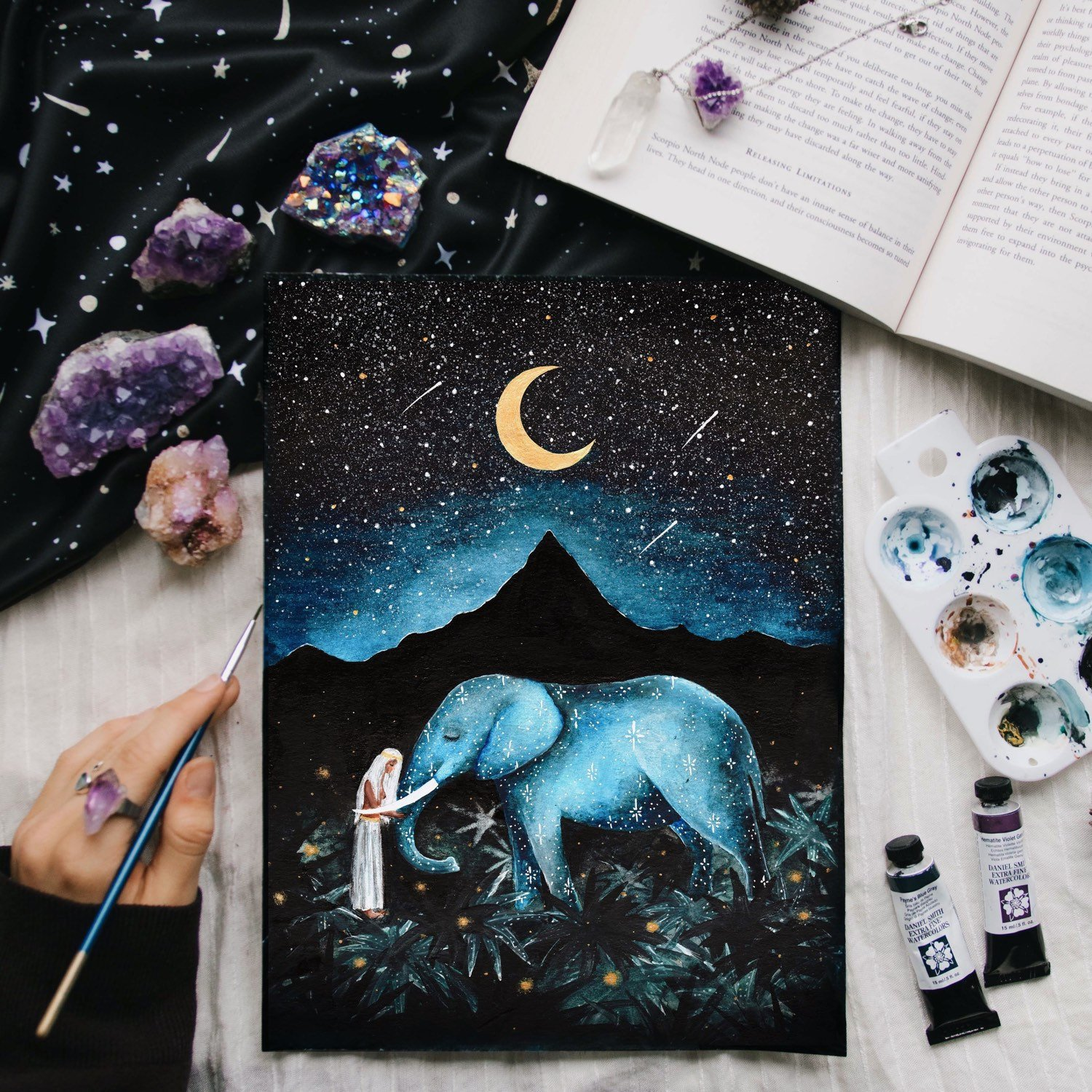 Picture - DreamyMoons by Annie. A beautiful collection of New Year Growth Books and Affirmation cards.